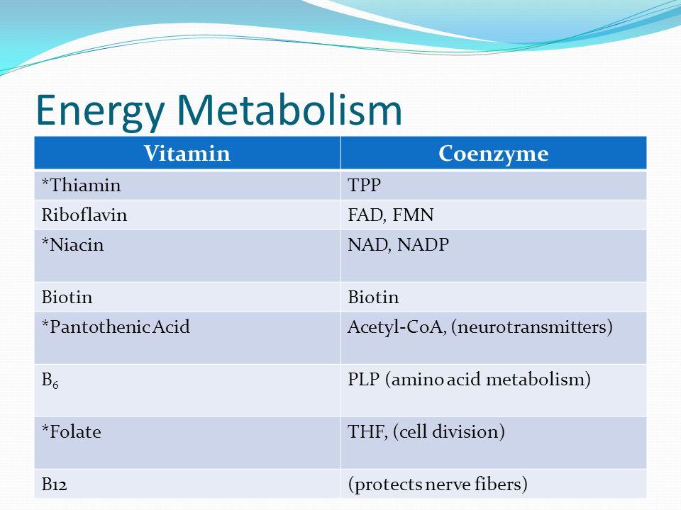 VitaminCoenzyme *ThiaminTPP RiboflavinFAD, FMN *NiacinNAD, NADP Biotin *Pantothenic AcidAcetyl-CoA, (neurotransmitters) B6B6 PLP (amino acid metabolis