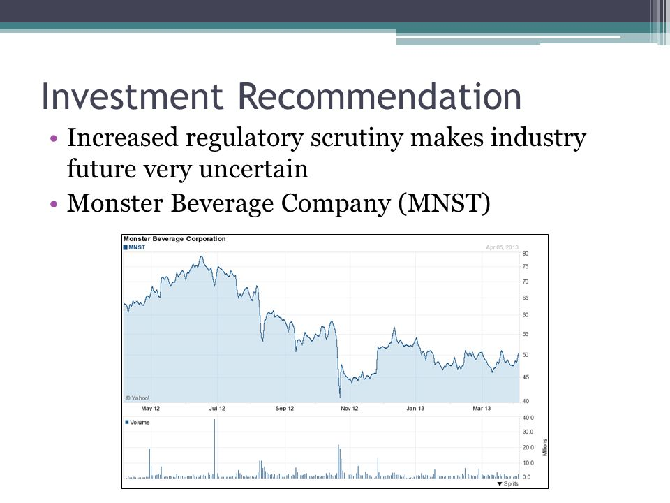 Investment Recommendation Increased regulatory scrutiny makes industry future very uncertain Monster Beverage Company (MNST)