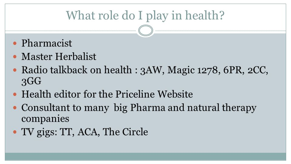 What role do I play in health.