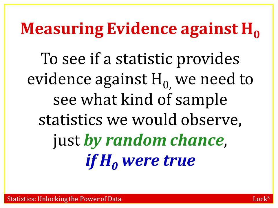 Statistics: Unlocking the Power of Data Lock 5 To see if a statistic provides evidence against H 0, we need to see what kind of sample statistics we would observe, just by random chance, if H 0 were true Measuring Evidence against H 0