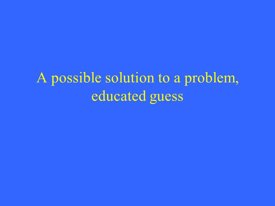 A possible solution to a problem, educated guess