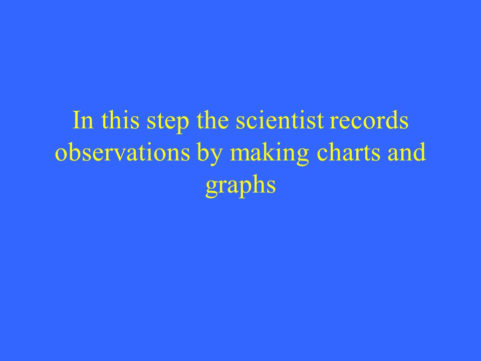 In this step the scientist records observations by making charts and graphs