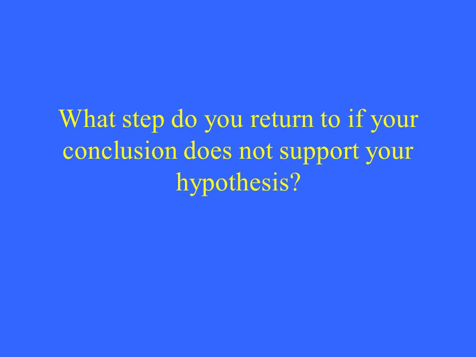 What step do you return to if your conclusion does not support your hypothesis?