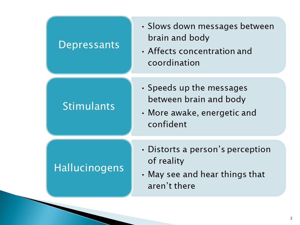 2 Slows down messages between brain and body Affects concentration and coordination Depressants Speeds up the messages between brain and body More awake, energetic and confident Stimulants Distorts a person's perception of reality May see and hear things that aren't there Hallucinogens