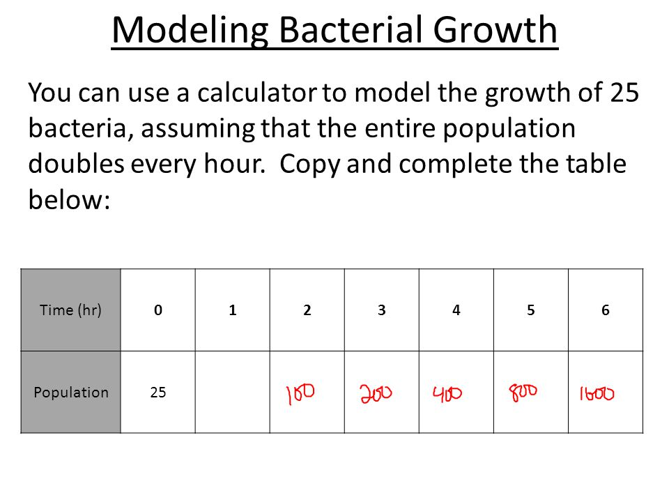Modeling Bacterial Growth You can use a calculator to model the growth of 25 bacteria, assuming that the entire population doubles every hour.