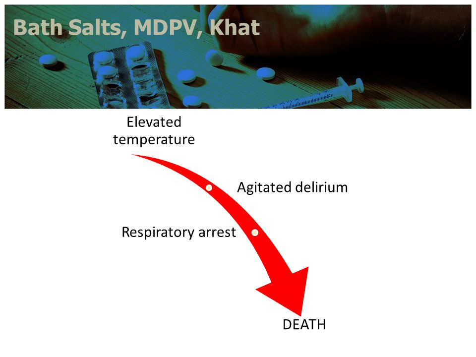 Bath Salts, MDPV, Khat Elevated temperature Agitated delirium Respiratory arrest DEATH