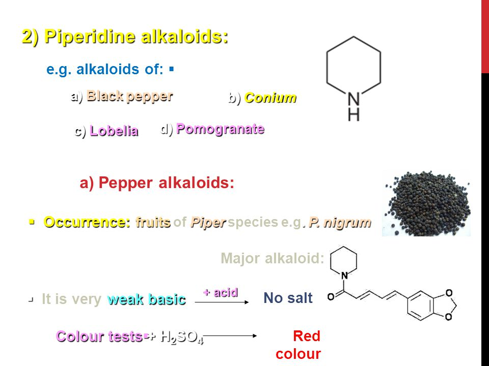 2) Piperidine alkaloids:  e.g. alkaloids of: a) Black pepper b) Conium d) Pomogranate a) Pepper alkaloids:  Occurrence: fruits Piper. P. nigrum  Oc