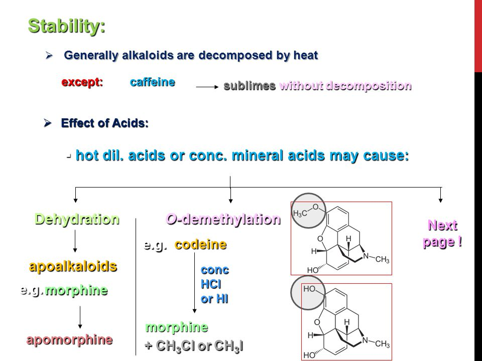 Stability:  Generally alkaloids are decomposed by heat except:caffeine sublimes without decomposition 2  Effect of Acids:  hot dil. acids or conc.