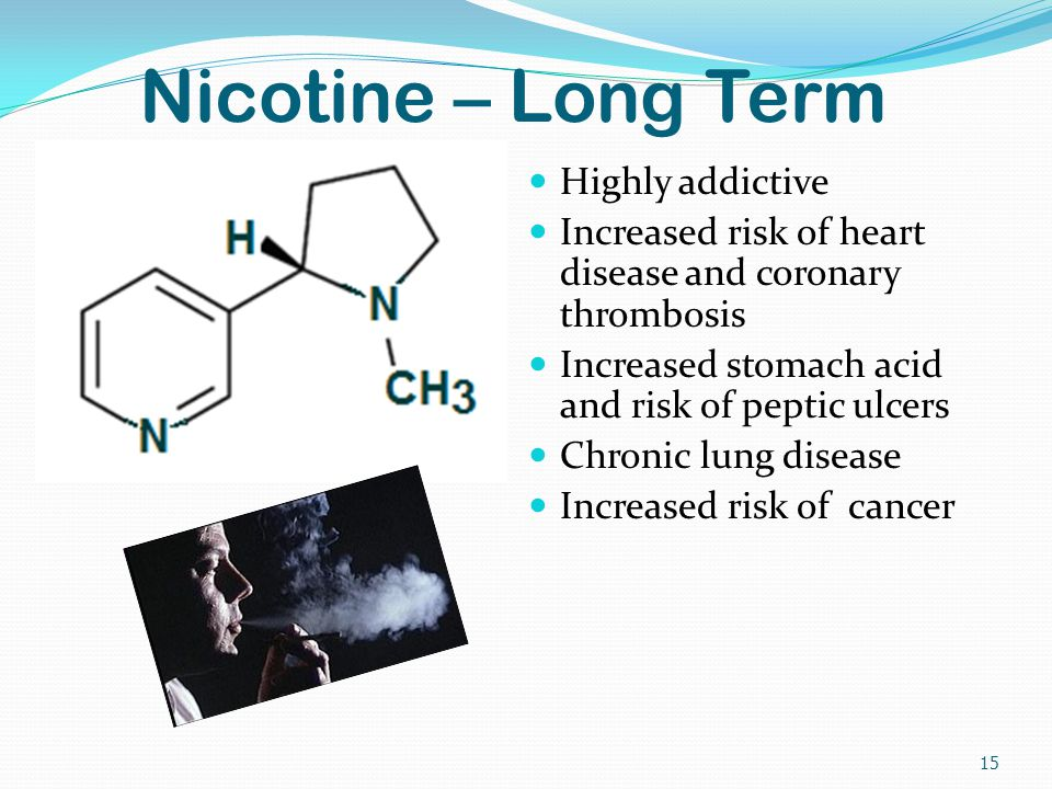 Nicotine – Long Term Highly addictive Increased risk of heart disease and coronary thrombosis Increased stomach acid and risk of peptic ulcers Chronic lung disease Increased risk of cancer 15