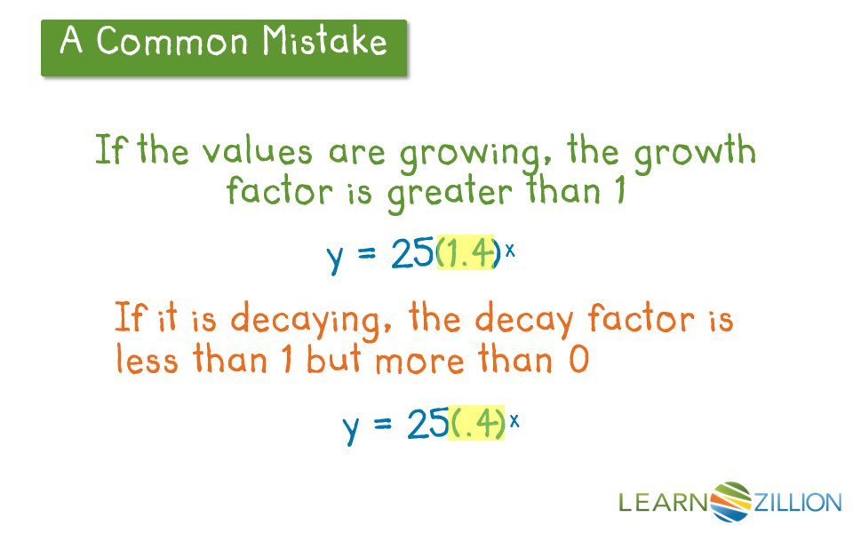 A Common Mistake If the values are growing, the growth factor is greater than 1 y = 25(1.4) x If it is decaying, the decay factor is less than 1 but m