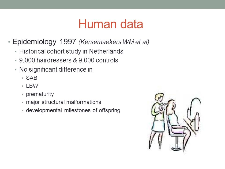 Human data Epidemiology 1997 (Kersemaekers WM et al) Historical cohort study in Netherlands 9,000 hairdressers & 9,000 controls No significant differe