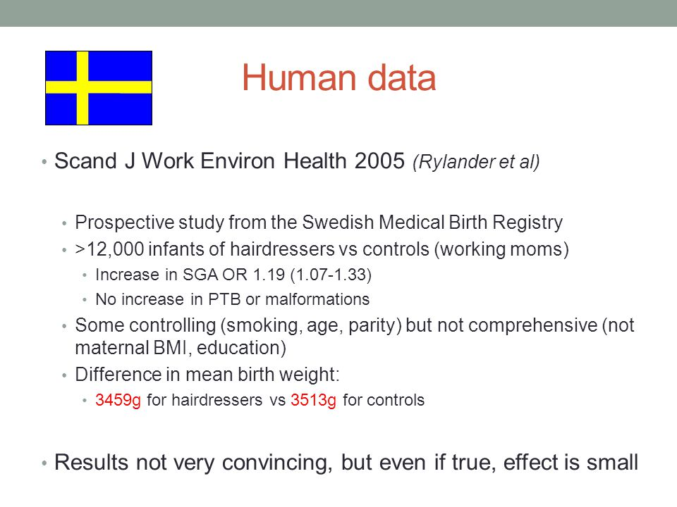 Human data Scand J Work Environ Health 2005 (Rylander et al) Prospective study from the Swedish Medical Birth Registry >12,000 infants of hairdressers vs controls (working moms) Increase in SGA OR 1.19 (1.07-1.33) No increase in PTB or malformations Some controlling (smoking, age, parity) but not comprehensive (not maternal BMI, education) Difference in mean birth weight: 3459g for hairdressers vs 3513g for controls Results not very convincing, but even if true, effect is small