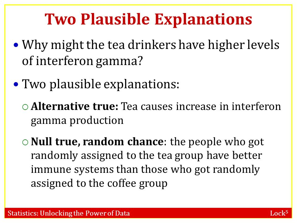 Statistics: Unlocking the Power of Data Lock 5 Two Plausible Explanations Why might the tea drinkers have higher levels of interferon gamma? Two plaus