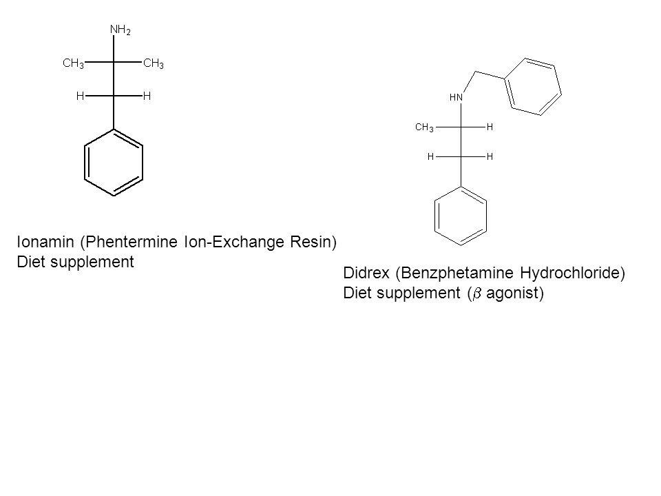 Ionamin (Phentermine Ion-Exchange Resin) Diet supplement Didrex (Benzphetamine Hydrochloride) Diet supplement (  agonist)