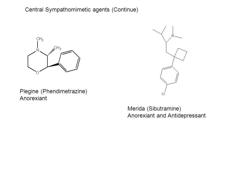 Plegine (Phendimetrazine) Anorexiant Merida (Sibutramine) Anorexiant and Antidepressant Central Sympathomimetic agents (Continue)
