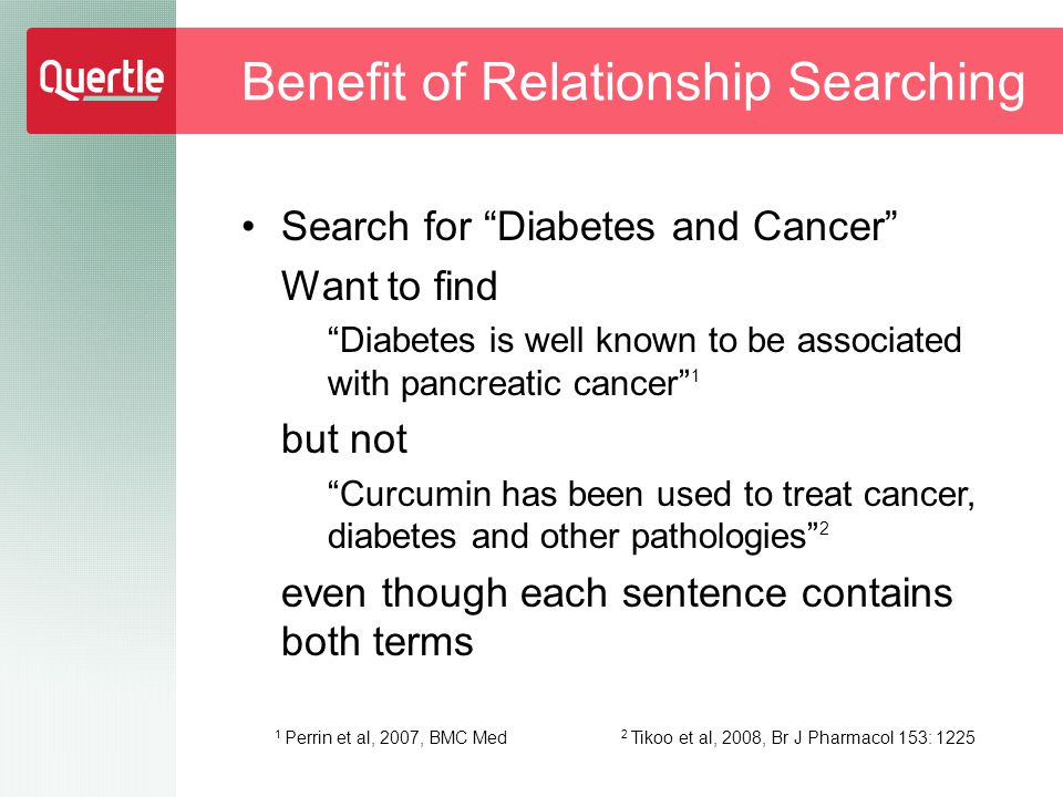 Search for Diabetes and Cancer Want to find Diabetes is well known to be associated with pancreatic cancer 1 but not Curcumin has been used to treat cancer, diabetes and other pathologies 2 even though each sentence contains both terms Benefit of Relationship Searching 1 Perrin et al, 2007, BMC Med 2 Tikoo et al, 2008, Br J Pharmacol 153: 1225
