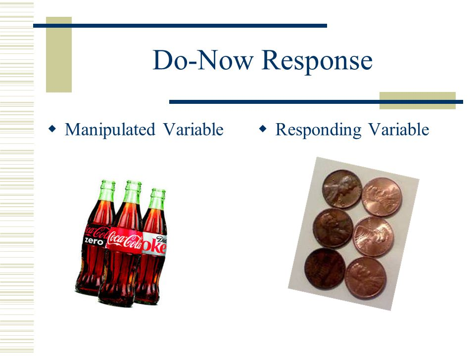 Do-Now Response  Manipulated Variable  Responding Variable