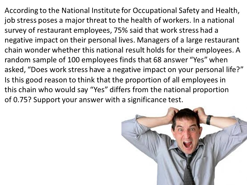 According to the National Institute for Occupational Safety and Health, job stress poses a major threat to the health of workers. In a national survey