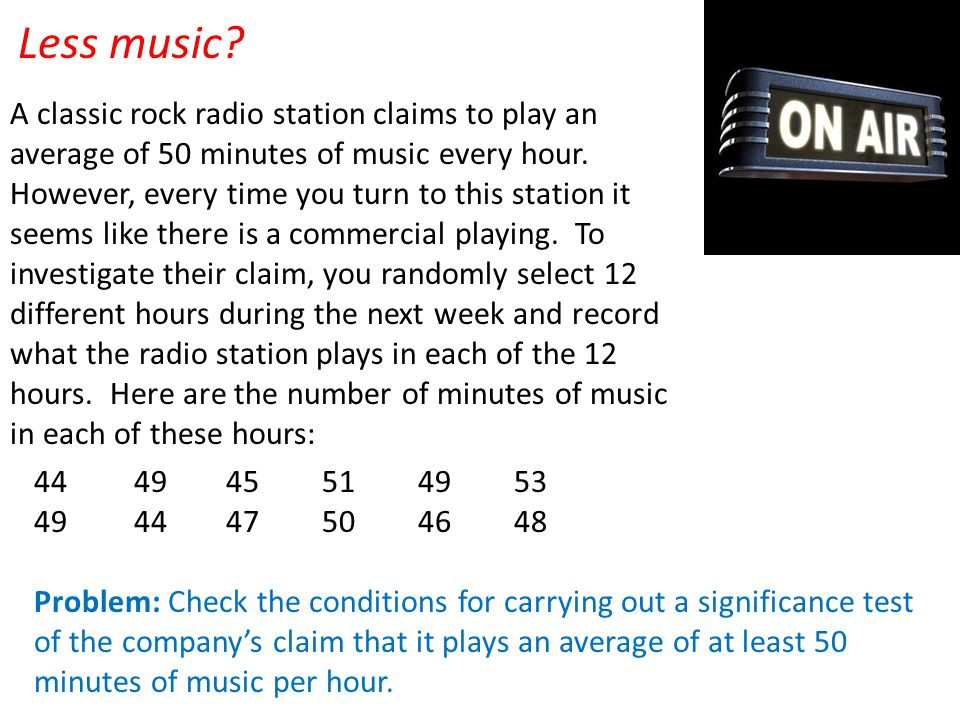 Less music? A classic rock radio station claims to play an average of 50 minutes of music every hour. However, every time you turn to this station it