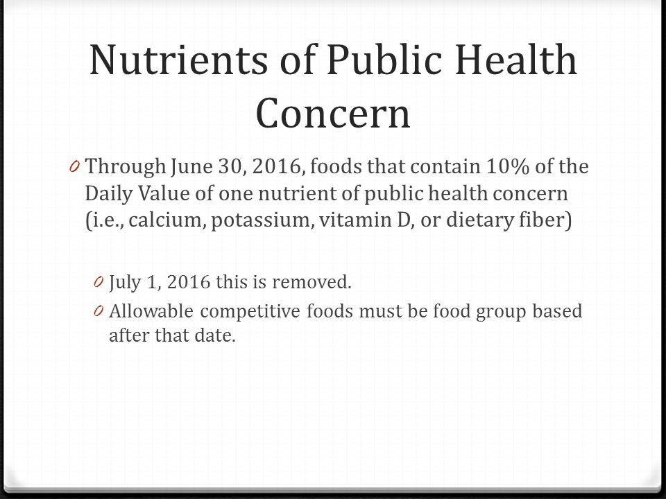 Nutrients of Public Health Concern 0 Through June 30, 2016, foods that contain 10% of the Daily Value of one nutrient of public health concern (i.e., calcium, potassium, vitamin D, or dietary fiber) 0 July 1, 2016 this is removed.