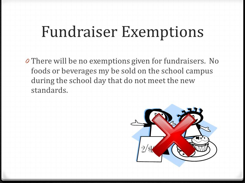 Fundraiser Exemptions 0 There will be no exemptions given for fundraisers.