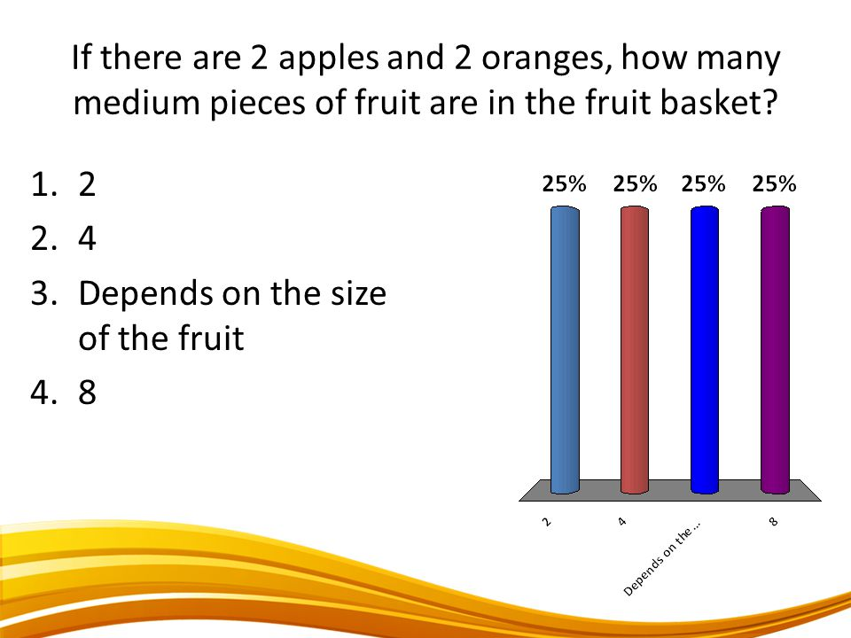If there are 2 apples and 2 oranges, how many medium pieces of fruit are in the fruit basket? 1.2 2.4 3.Depends on the size of the fruit 4.8