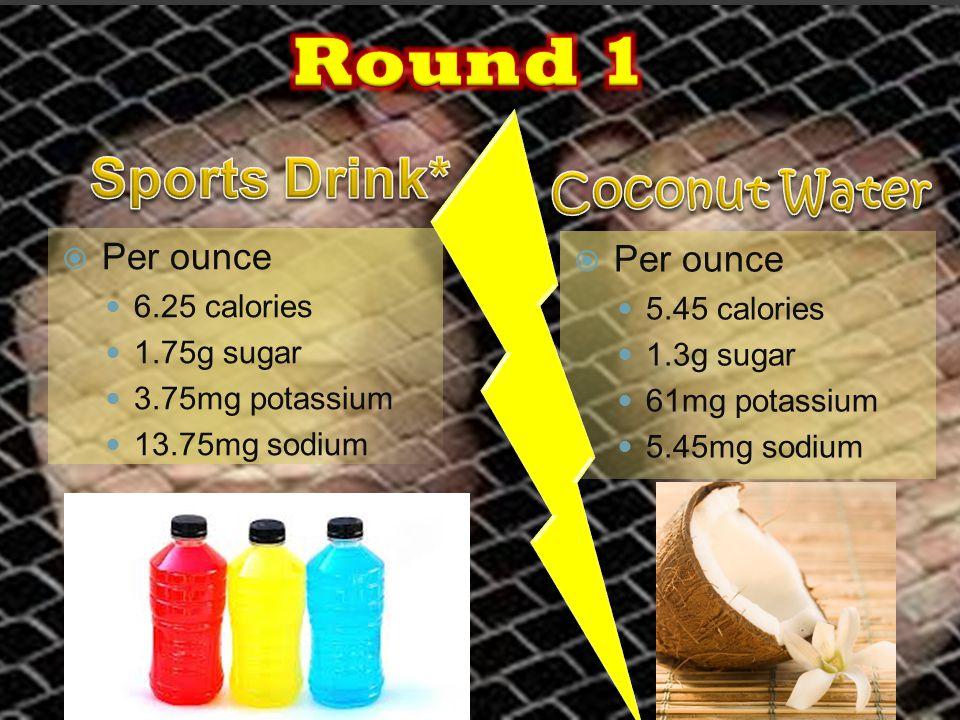  Per ounce 6.25 calories 1.75g sugar 3.75mg potassium 13.75mg sodium  Per ounce 5.45 calories 1.3g sugar 61mg potassium 5.45mg sodium