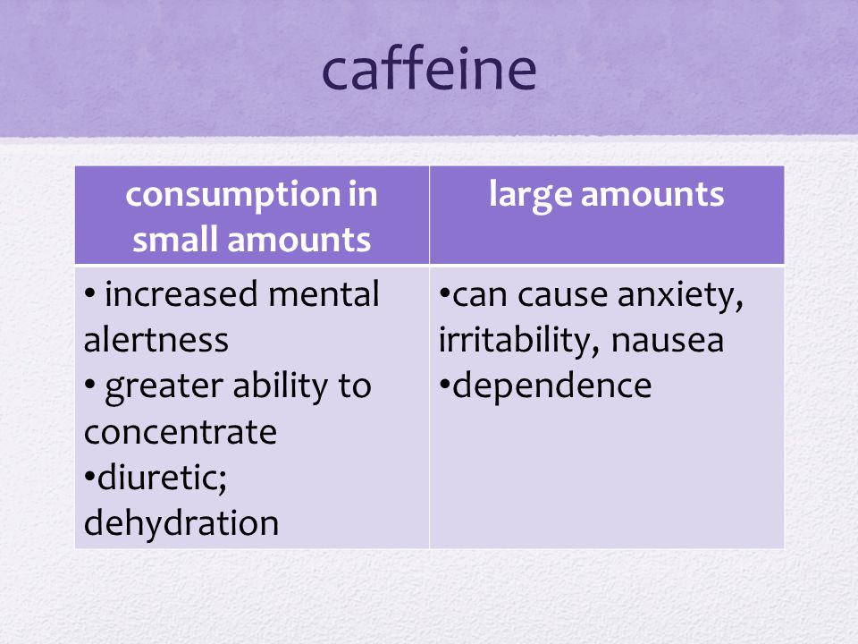 caffeine consumption in small amounts large amounts increased mental alertness greater ability to concentrate diuretic; dehydration can cause anxiety, irritability, nausea dependence