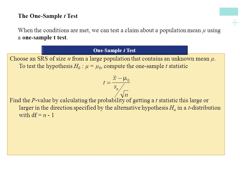 + Use this test only when (1) the population distribution is Normal or the sample is large (n ≥ 30), and (2) the population is at least 10 times as large as the sample.