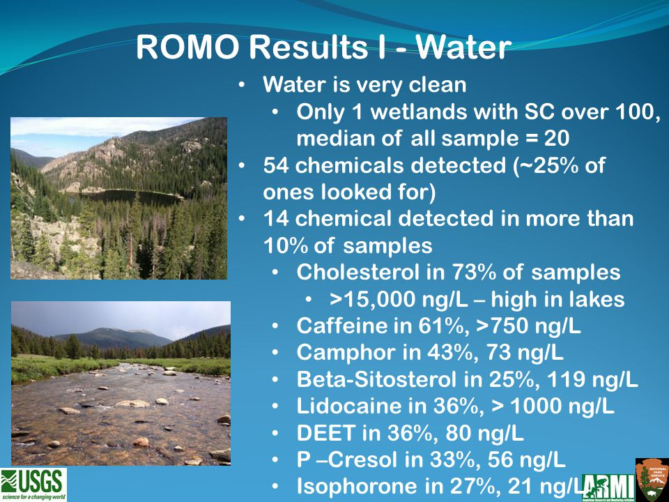 Water is very clean Only 1 wetlands with SC over 100, median of all sample = 20 54 chemicals detected (~25% of ones looked for) 14 chemical detected in more than 10% of samples Cholesterol in 73% of samples >15,000 ng/L – high in lakes Caffeine in 61%, >750 ng/L Camphor in 43%, 73 ng/L Beta-Sitosterol in 25%, 119 ng/L Lidocaine in 36%, > 1000 ng/L DEET in 36%, 80 ng/L P –Cresol in 33%, 56 ng/L Isophorone in 27%, 21 ng/L ROMO Results I - Water