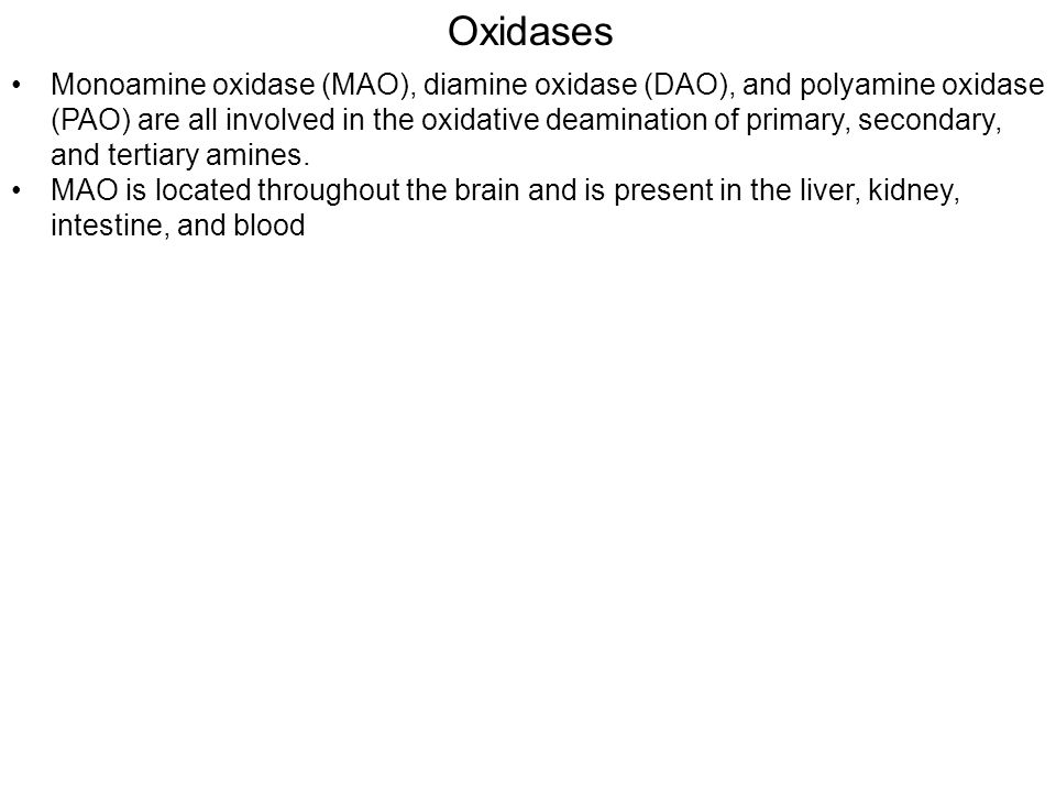 Oxidases Monoamine oxidase (MAO), diamine oxidase (DAO), and polyamine oxidase (PAO) are all involved in the oxidative deamination of primary, secondary, and tertiary amines.