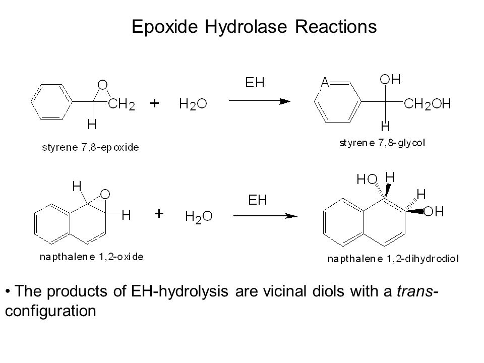 The products of EH-hydrolysis are vicinal diols with a trans- configuration Epoxide Hydrolase Reactions