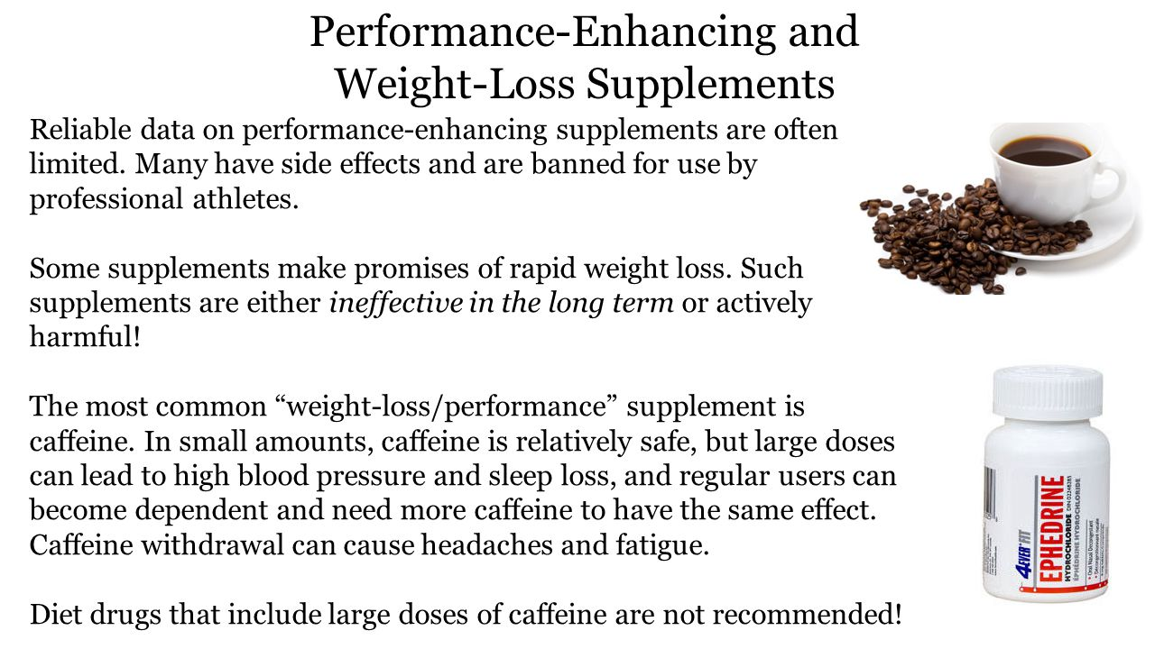 Performance-Enhancing and Weight-Loss Supplements Reliable data on performance-enhancing supplements are often limited.