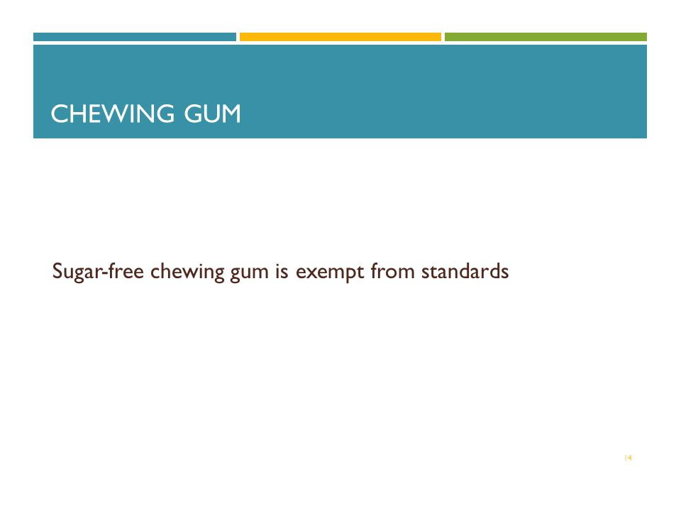 CHEWING GUM Sugar-free chewing gum is exempt from standards 14