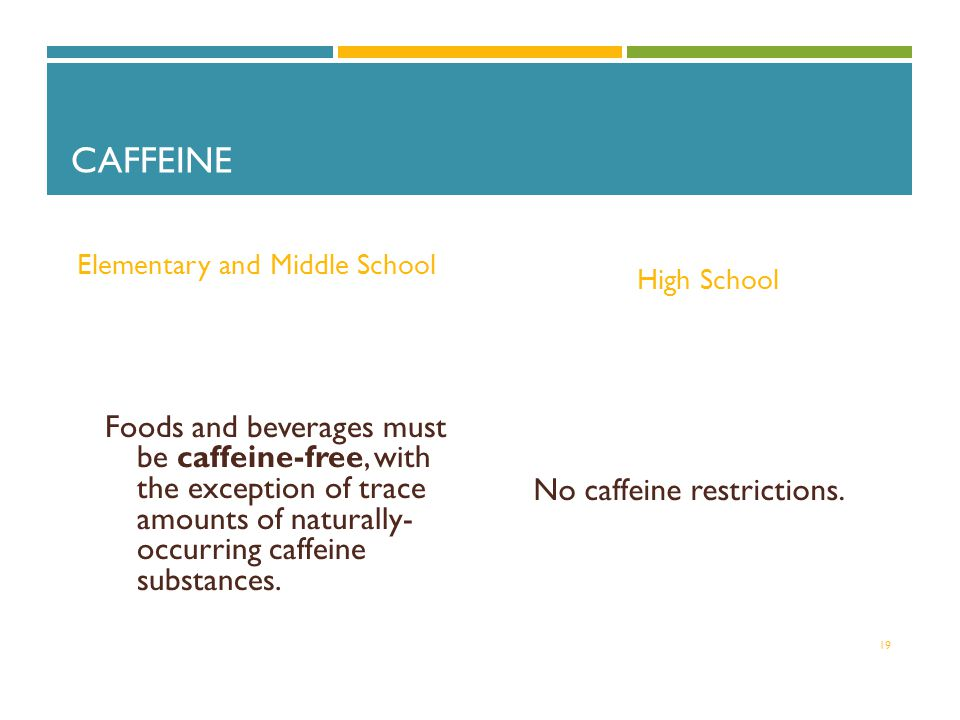 CAFFEINE Elementary and Middle School Foods and beverages must be caffeine-free, with the exception of trace amounts of naturally- occurring caffeine substances.
