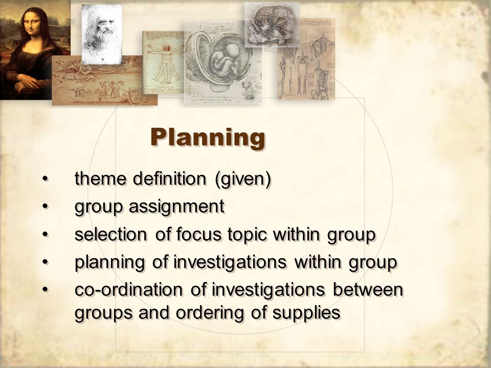 Planning theme definition (given) group assignment selection of focus topic within group planning of investigations within group co-ordination of investigations between groups and ordering of supplies theme definition (given) group assignment selection of focus topic within group planning of investigations within group co-ordination of investigations between groups and ordering of supplies