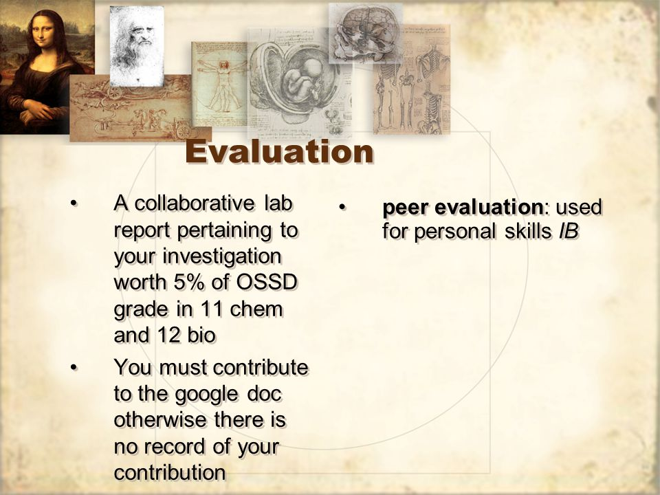 Evaluation A collaborative lab report pertaining to your investigation worth 5% of OSSD grade in 11 chem and 12 bio You must contribute to the google doc otherwise there is no record of your contribution A collaborative lab report pertaining to your investigation worth 5% of OSSD grade in 11 chem and 12 bio You must contribute to the google doc otherwise there is no record of your contribution peer evaluation: used for personal skills IB