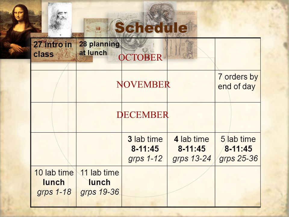 Schedule 12 all work due this date by 2:35 PM. JANUARY