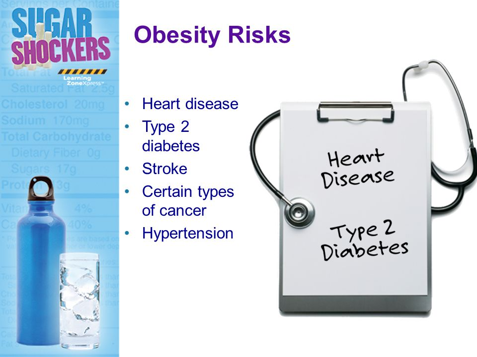 Obesity Risks Heart disease Type 2 diabetes Stroke Certain types of cancer Hypertension