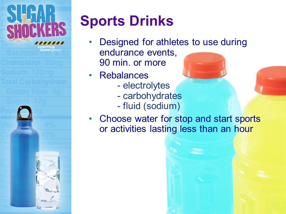 Sports Drinks Designed for athletes to use during endurance events, 90 min.