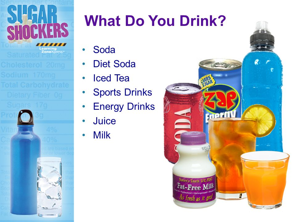 Soda Diet Soda Iced Tea Sports Drinks Energy Drinks Juice Milk What Do You Drink