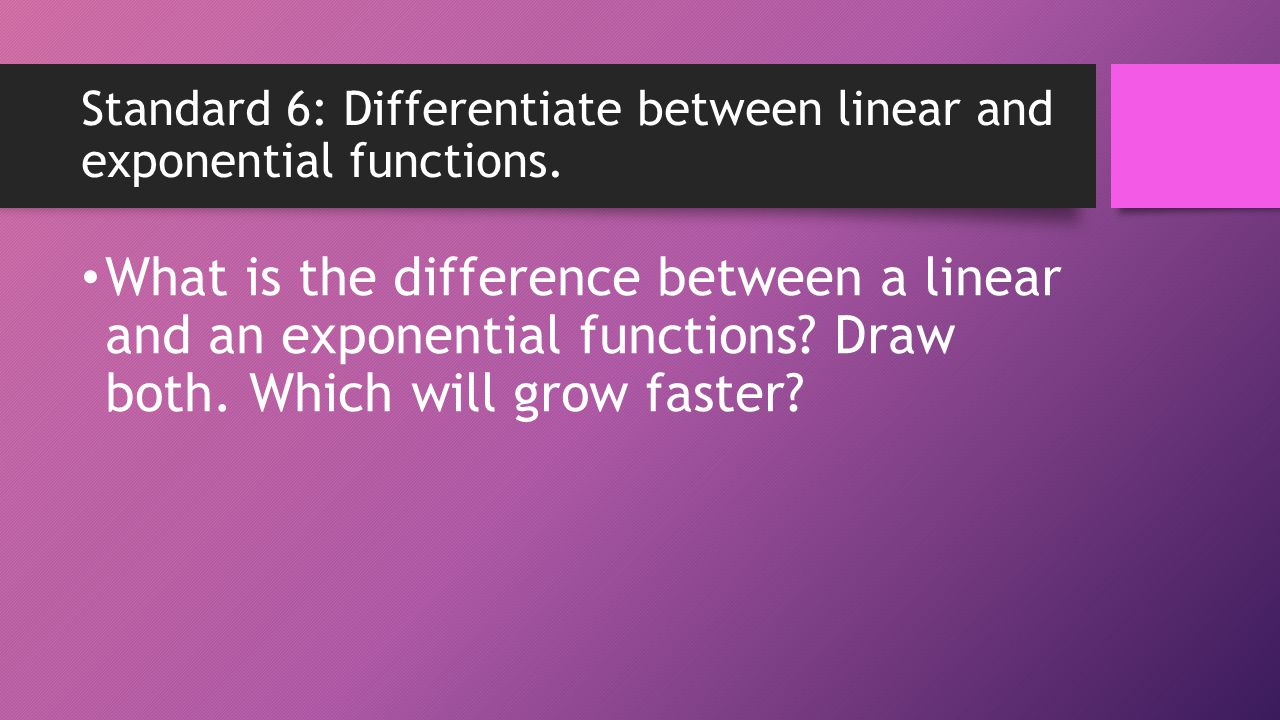 Standard 6: Differentiate between linear and exponential functions.