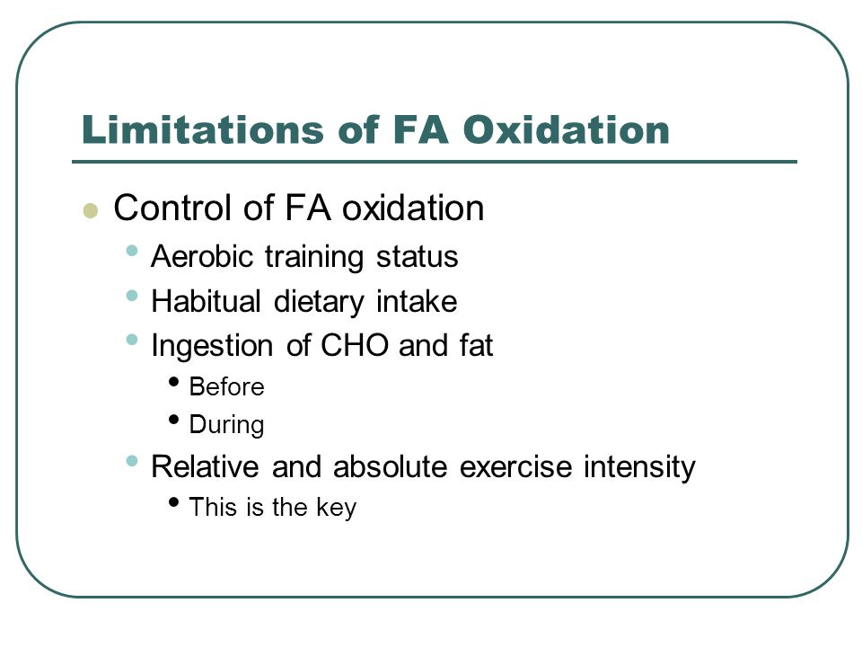 Limitations of FA Oxidation Control of FA oxidation Aerobic training status Habitual dietary intake Ingestion of CHO and fat Before During Relative an