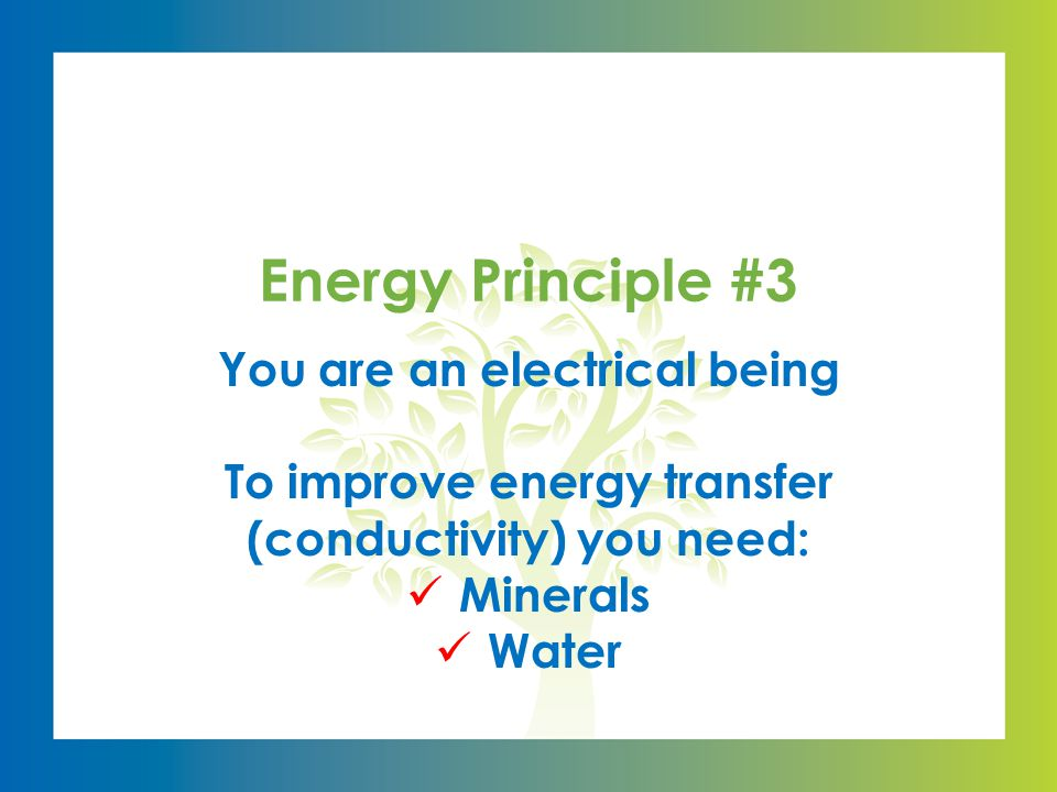 You are an electrical being To improve energy transfer (conductivity) you need: Minerals Water Energy Principle #3