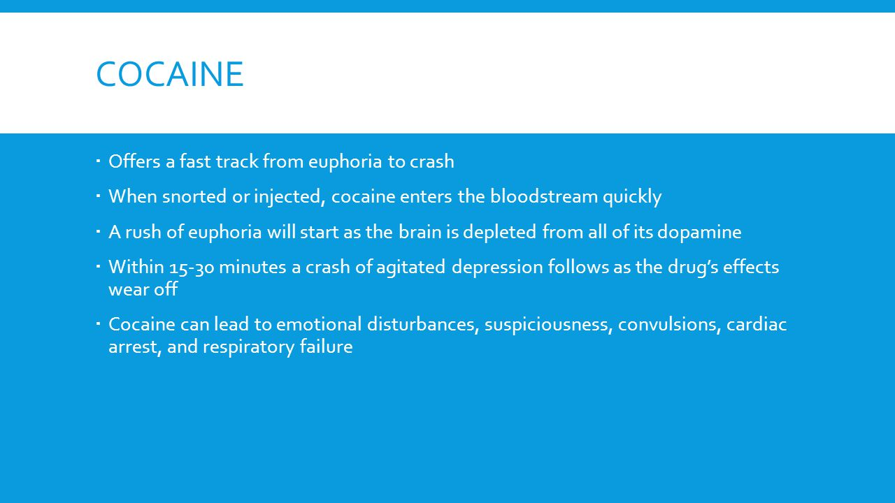 COCAINE  Offers a fast track from euphoria to crash  When snorted or injected, cocaine enters the bloodstream quickly  A rush of euphoria will star