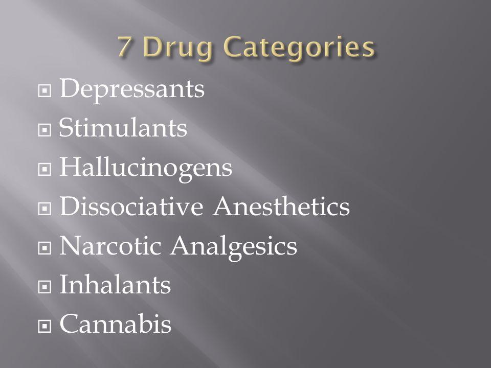  Depressants  Stimulants  Hallucinogens  Dissociative Anesthetics  Narcotic Analgesics  Inhalants  Cannabis