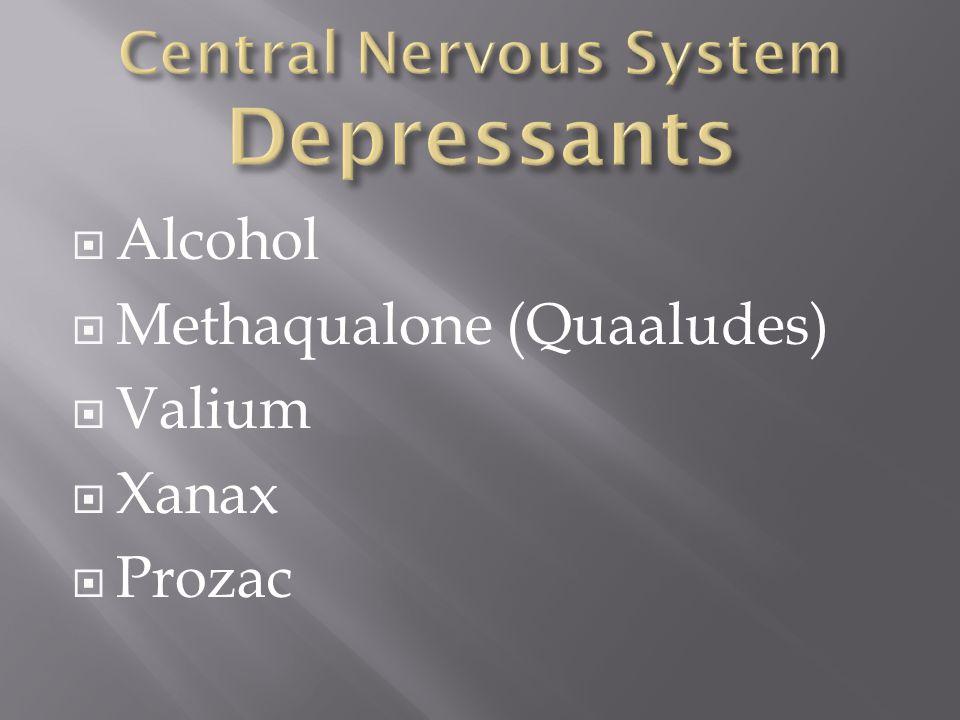  Alcohol  Methaqualone (Quaaludes)  Valium  Xanax  Prozac