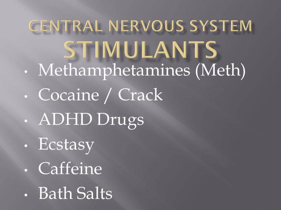 Methamphetamines (Meth) Cocaine / Crack ADHD Drugs Ecstasy Caffeine Bath Salts