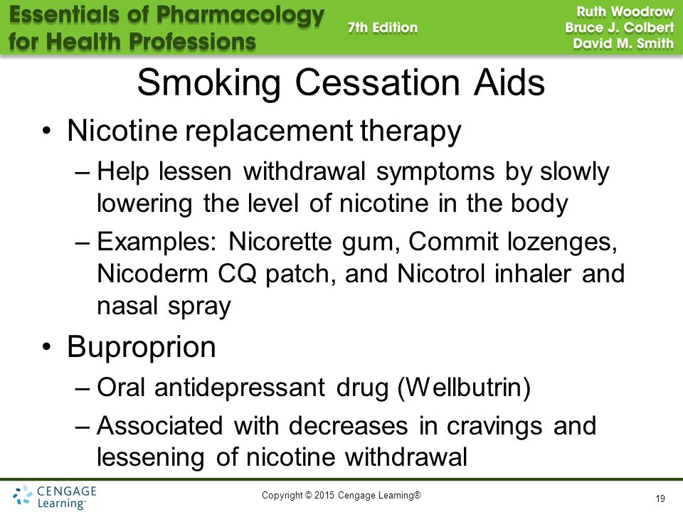 Copyright © 2015 Cengage Learning® Smoking Cessation Aids Nicotine replacement therapy –Help lessen withdrawal symptoms by slowly lowering the level o