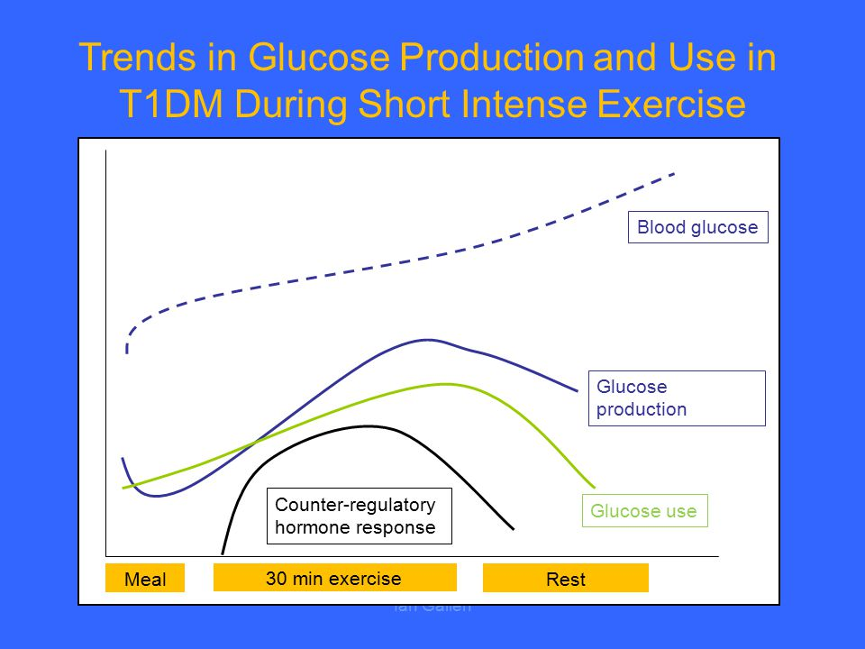 Ian Gallen Trends in Glucose Production and Use in T1DM During Short Intense Exercise 30 min exercise MealRest Counter-regulatory hormone response Glu
